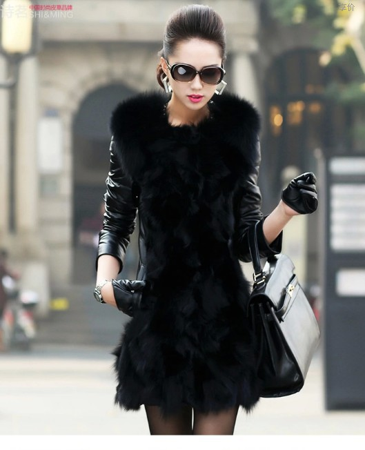 HOT SALE 2014 Winter New Products Female Fur Coat Slim Full Sleeve Leather Jackets Blazer Women Faux Fox Fur Outerwear XXXL(China (Mainland))