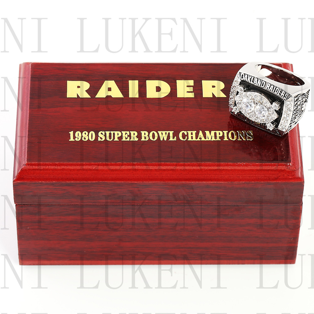 Replica 1980 Super Bowl XV Oakland Raiders Championship Ring Football Rings With High Quality Wooden Box Best Gift LUKENI(China (Mainland))