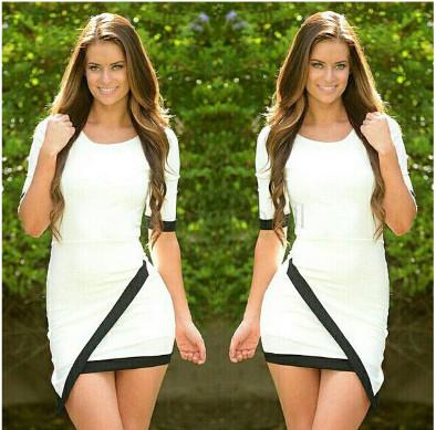 2016 summer style large size irregular mini sexy dress women vintage slim package hip bottoming Vestidos black white dresses - 90s Fashion store