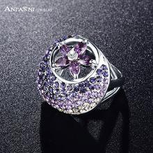 ANFASNI Mystic Nice Purple Cubic Zircon Ring Women Accessories Genuine Austrian Crystal Flower Ring Ri-HQ0305(China (Mainland))