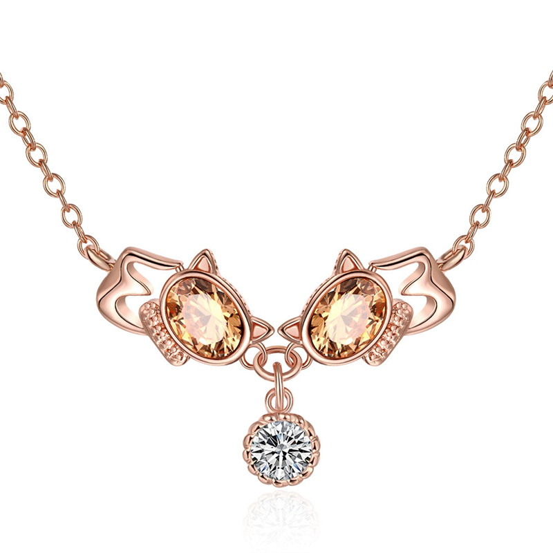 Trendy Cute Yellow Resin Cat Design CZ Diamond Necklace Pendant Rose Gold Plated Fashion Jewelry For Women Vintage Bijoux QA0041(China (Mainland))
