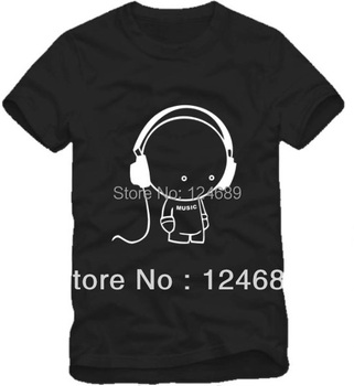 Free Shipping Size 90/100/110/120/130/140/150cm kids tshirt summer tee doll with headset headphone printed t shirt 100% cotton
