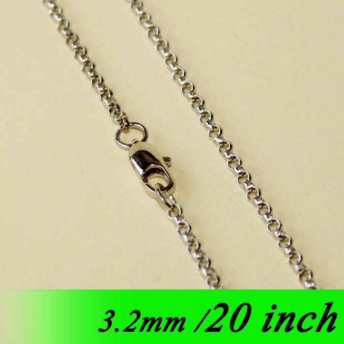 Rhodium Plated Metal 3.2mm Circle Rolo Jewellery Chains With Square Clasps 20 Fashion Necklace Links For Pendants Bulk Findings<br><br>Aliexpress