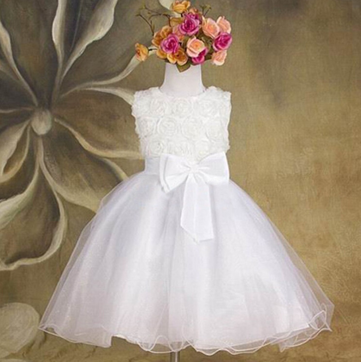 flower girl dress summer princess white lace girls dresses children sleeveless tulle ball gown kids clothing for wedding YF-083(China (Mainland))