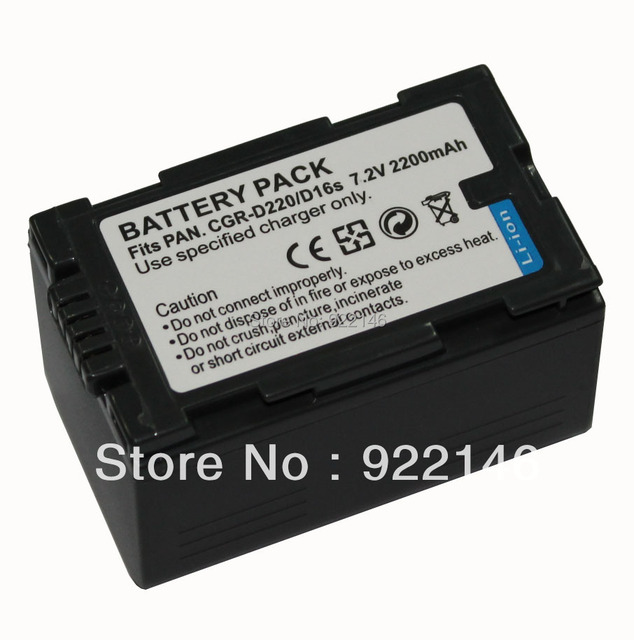 For Panasonic Camera Battery 2200mAh CGR-D220/D16s Li-ion