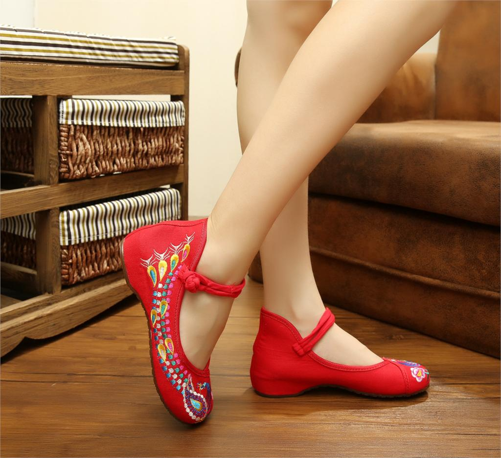 2016 New Fashion Womens Canvas Flats Ladies Cheap Cow Muscle Flat Chinese Flower Embroidery Shoes Plus Big Size 34-41 SMYBK-0001
