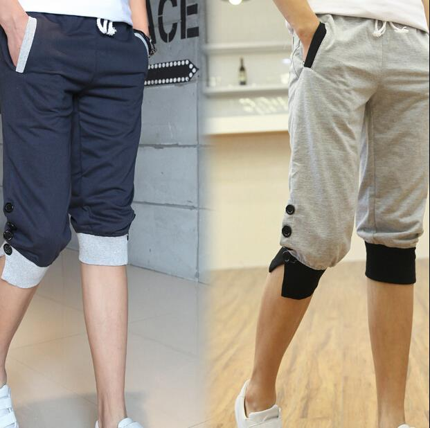 Men's Shorts Casual Loose Cotton Summer New 2015 Men Cotton Beach Sports Wear Baseball Surf Capri Slim Designer Running Shorts(China (Mainland))