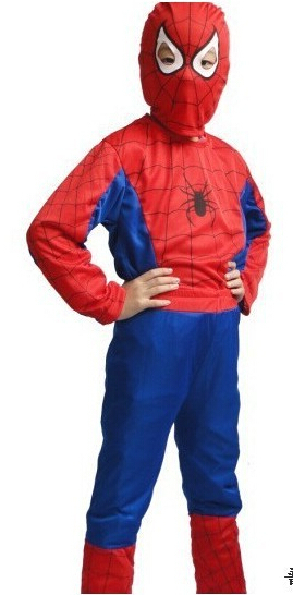 Halloween Fashion's clothing,Kids Halloween mascot spiderman costumes,Fashion Spider-Man costume Cosplay Costume Kits QA154(China (Mainland))