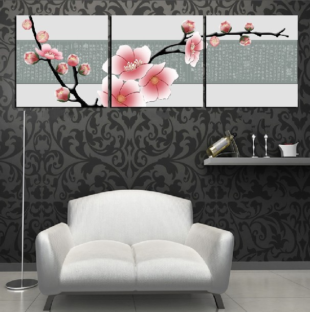 3 Piece Free Shipping Hot Sell Modern Wall Painting Home Decorative Art Picture Paint on Canvas Prints Pure pink plum flower(China (Mainland))