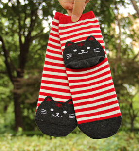 Cartoon Cats Funny Socks Women Cotton Stripes Prints High Sock Band Designer 3D Chaussettes Breathable Antibacterial Deodorant(China (Mainland))