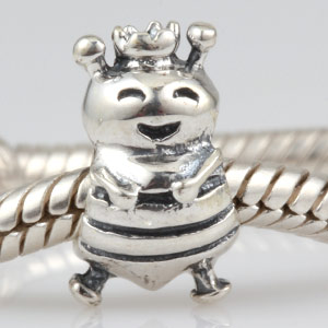 Smile Queen Bee with Crown 100% 925 Sterling Silver Charm Beads Fits Pandora European Charms Bracelet S(China (Mainland))