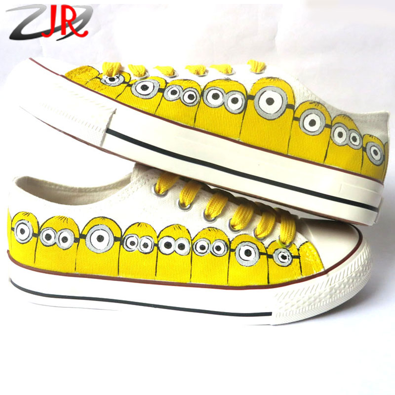 YJR Despicable Me Minions Pattern Canvas Shoes Graffiti Hand Painted Canvas Shoes Anime Men Women Breathable Casual Shoes(China (Mainland))