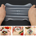 Hot 4pcs Clear Reusable Silicone Food Seal Cover Multifunctional Food Fresh Keeping recyclable Saran Wrap Kitchen