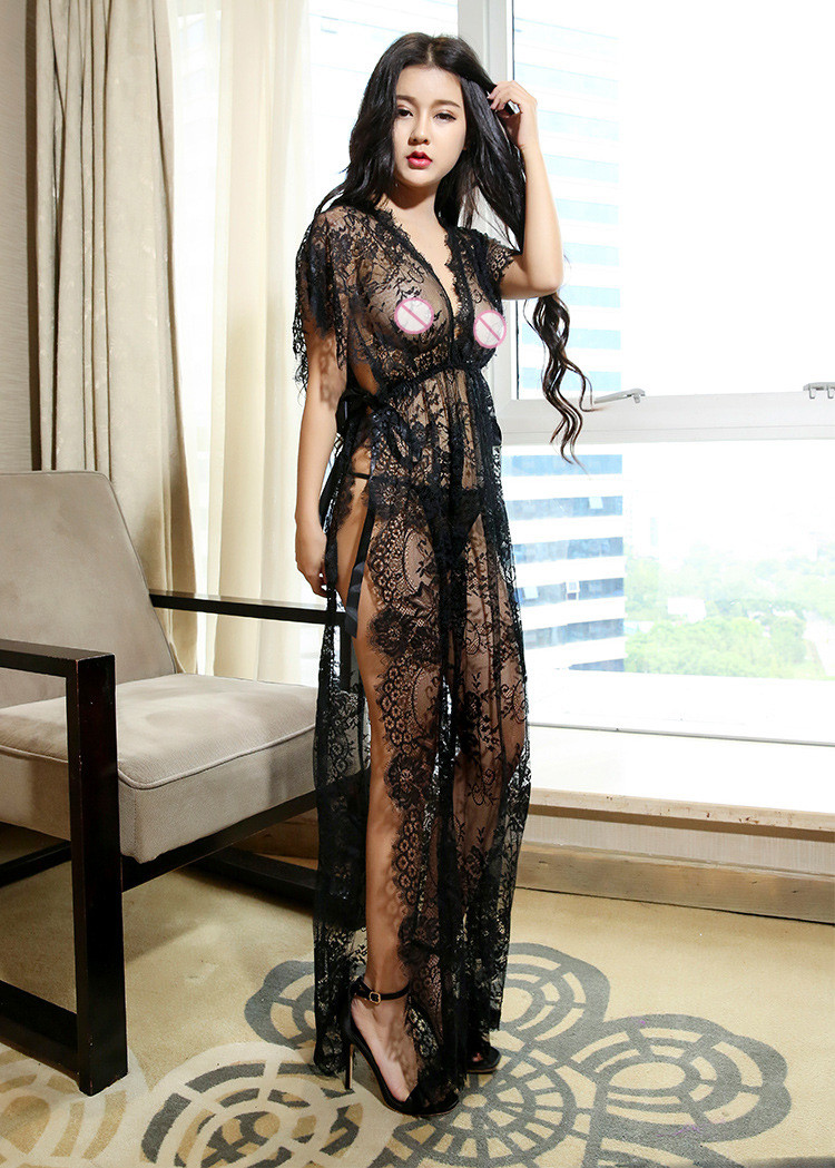 Charming Women Sexy Full Lace Floral Long Nightdress See Through Mesh Night Robes Erotic Wife Midnight Romantic Lingerie Slips
