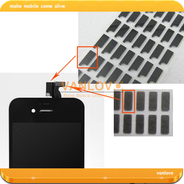 Wholesale 100set/lot Shielded Sponge Pad Sticker For iPhone 4G 4S LCD and Digitizer Flex Cable
