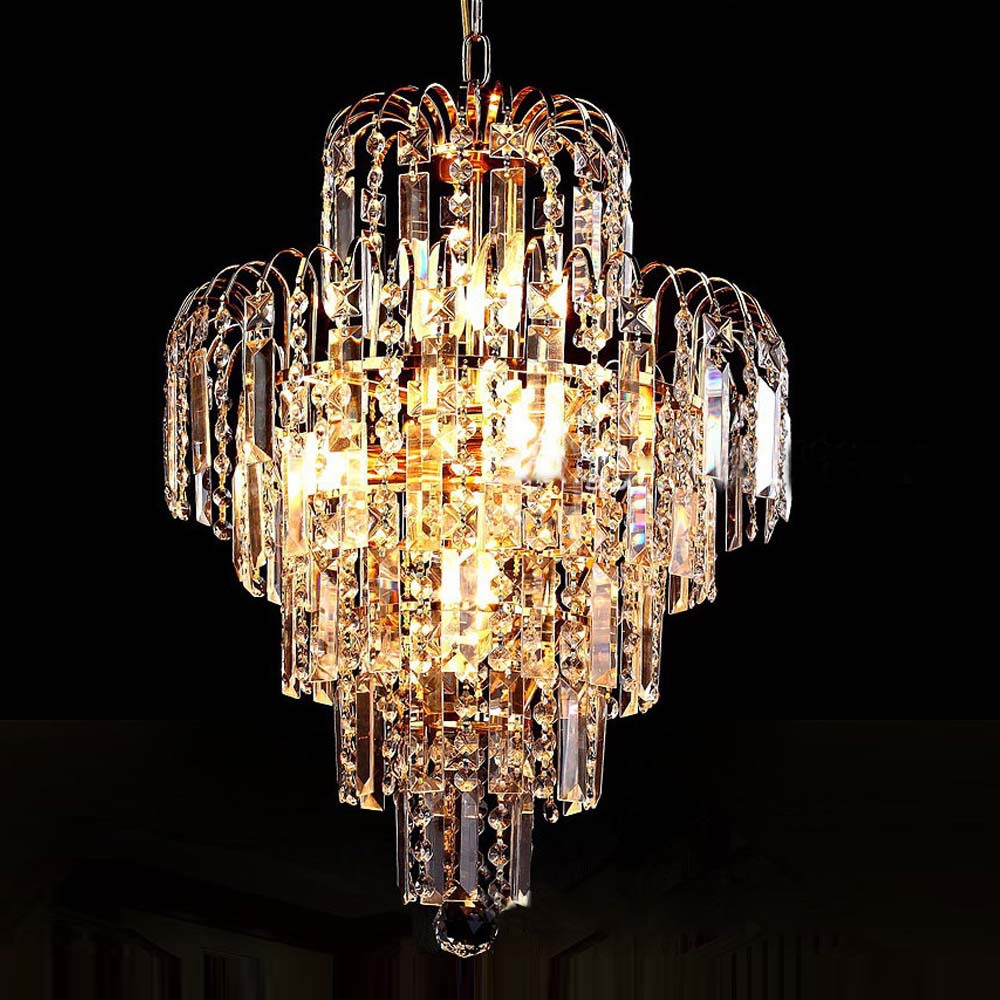Luxury royal gold crystal k9 chandelier pendant lamp crystal golden chandeliers hall living room - Living room chandeliers ...