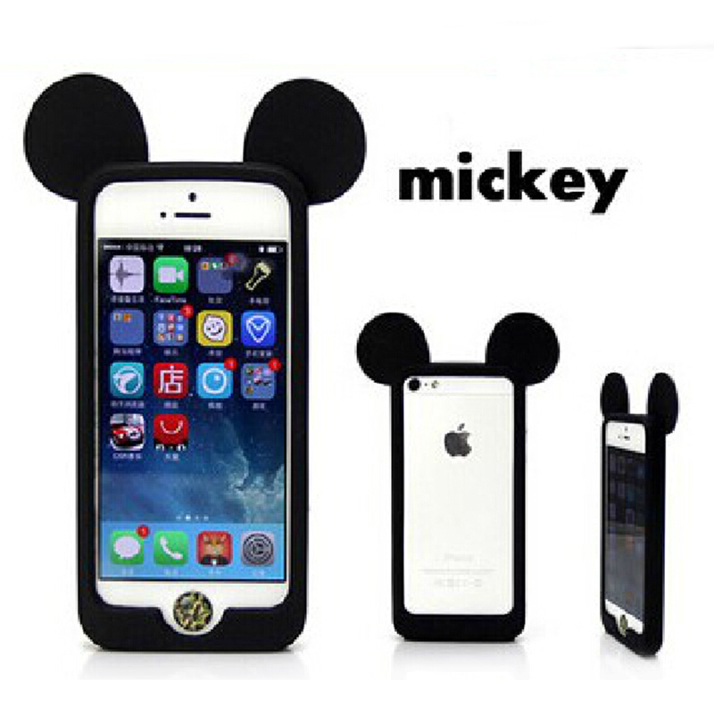 Mickey Mouse cartoon pattern bumper ear soft silicon phone cover case for iphone 4 4S 5 5S 6 6 plus case Cute cartoon frame(China (Mainland))