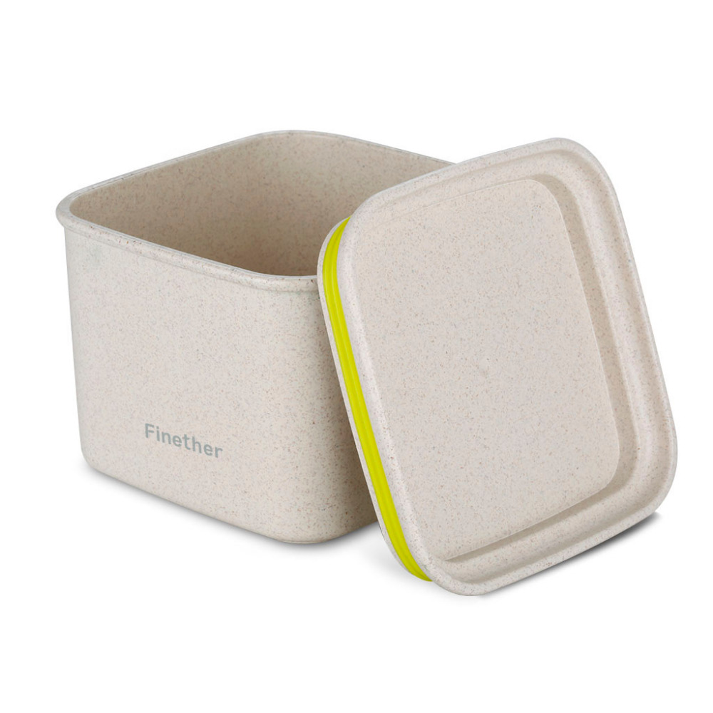 Finether Square Box Container Wheat Straw Sealed Storage Containers Plastic Food Storage Preservation Box for Kitchen(China (Mainland))