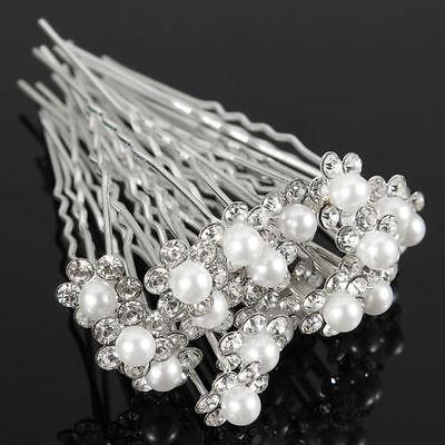 Beautiful Wedding Bridal Crystal Rhinestone Pearl Flower Hair Pin Clips Hair Jewelry(China (Mainland))