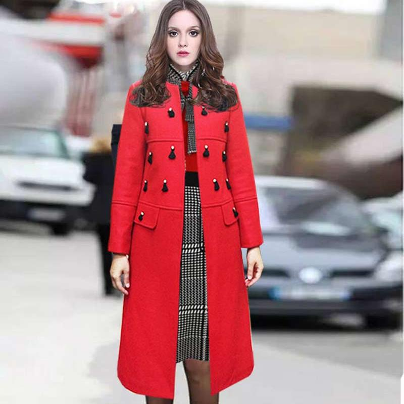 2015 European New High End Fashion Long Outerwear Coat Women Hand Made Beads Warm Wool Cotton Blends Red Grey Coat Overcoat XLОдежда и ак�е��уары<br><br><br>Aliexpress