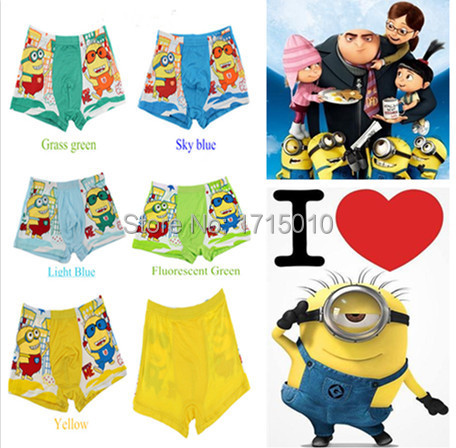 Professional For Child!Despicable Me Minions Cartoon Lovely boys boxer underwear kids panties fit 4-13yrs children(China (Mainland))