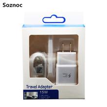 Soznoc 5V 2A / 9V 1.67A Fast Charger USB power EU US Plug Travel Wall Charger Micro USB Data Cable For Samsung S6 S7 Edge(China (Mainland))