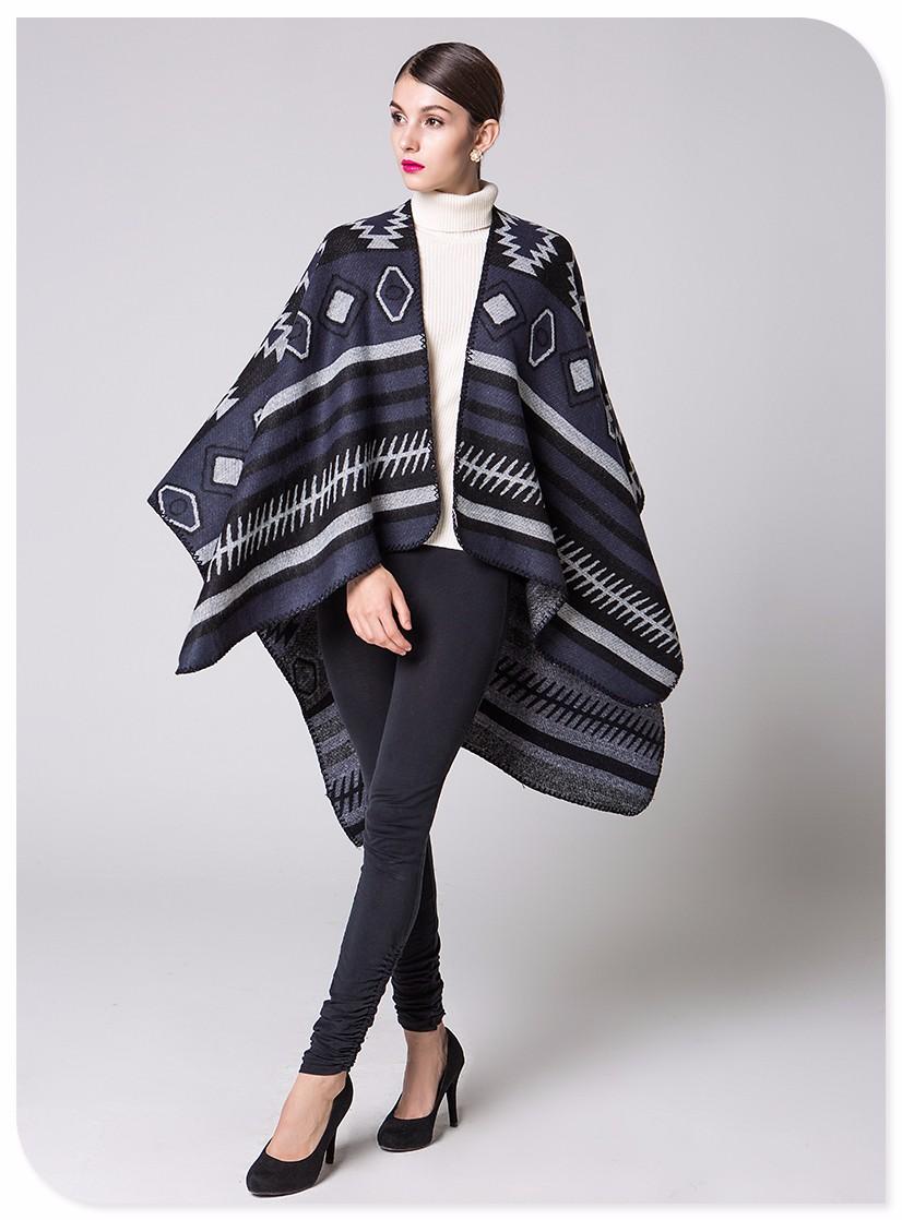 brand women scarf winter ponchos and capes female shawl vintage ladies wraps knit pashmina woman Blanket poncho coat girl cloth