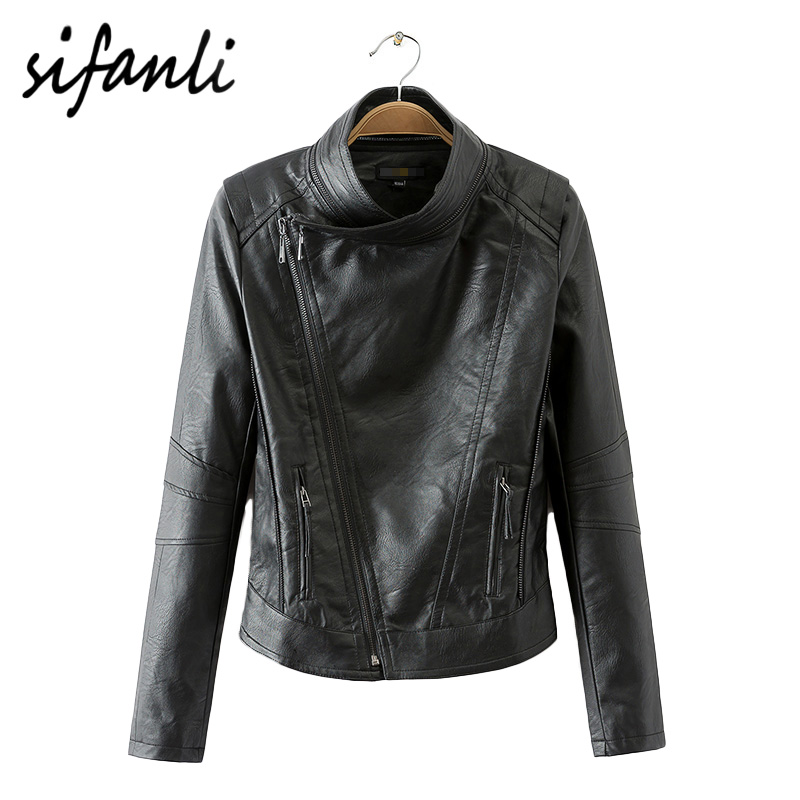 2016 Brands Clothing Fashion Women's jacket Motorcycle Cblique Zipper Coat Slim thin collar short paragraph PU leather jacket(China (Mainland))
