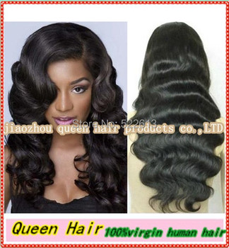 Queen hair:!!long body wave 100% unprocessed Brazilian virgin human hair wigs glueless full lace wigs/ front lace human hair wig