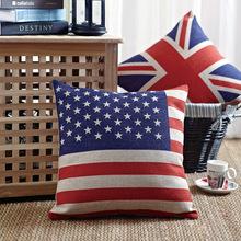 USA UK Canada Flag Topic Print Linen Cushion Cover