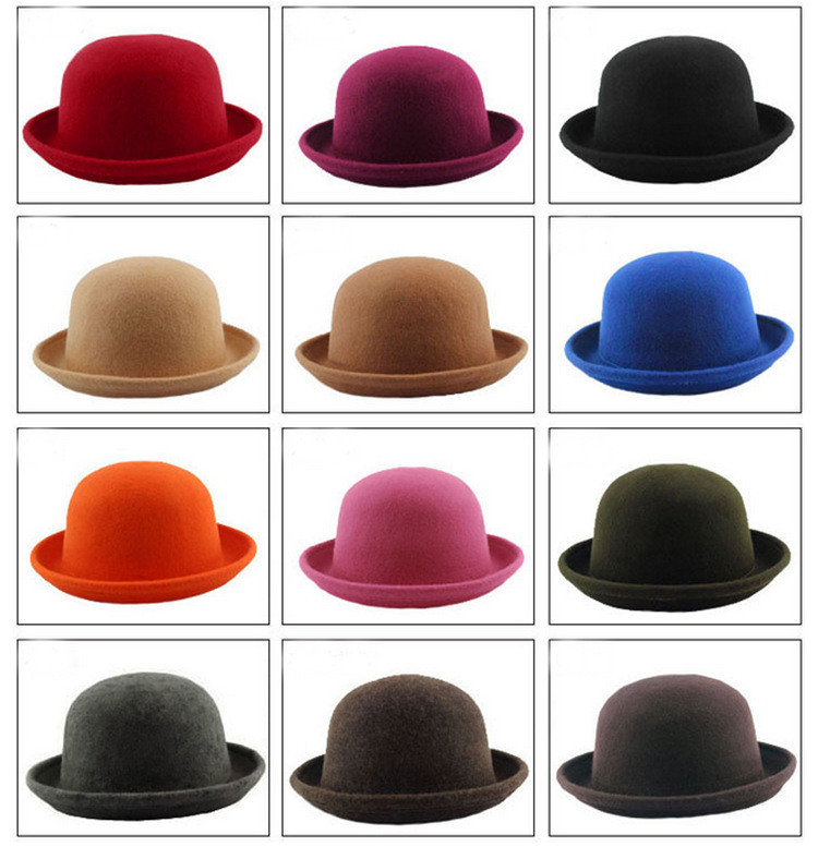 2015 New Fashion Cute Sweet Lady Vogue Vintage Women's Men Wool Beach Trendy Solid Bowler Derby Hat Fedoras hot selling(China (Mainland))