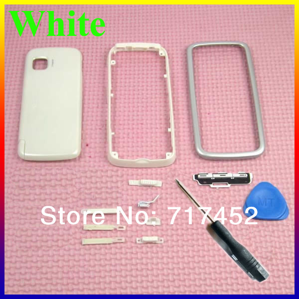100% Original White New Full Housing Cover Case Faceplate for Nokia 5230+ Open Tool Free Shipping(China (Mainland))