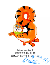 Hot sell 50pcs /lot 19inch Animals number 8 balloon Number Figure Balloon for Party Decoration
