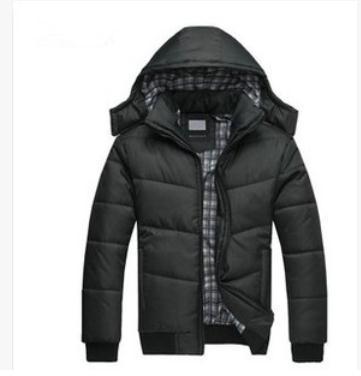 Пуховик хлопок капюшон, зима пальто мужчины стёганый черный фугу куртка тёплый вилочная ...