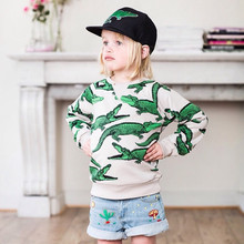2015 Mini Rodini Boys Girls Sweatshirts Cotton Long Sleeve Crorodile Print 18m-6y Kids Jackets Children Hoodies Sweatshirt FA032(China (Mainland))