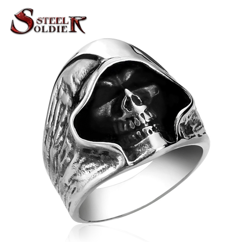 steel soldier good detail the death skull vintage ring for man stainless steel movie style hot sale skull jewelry BR8-156(China (Mainland))