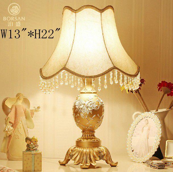 W13*H22 227 110v220v Fashion table lamp wedding decoration,fabric lampshade vintage bedside lighting<br><br>Aliexpress