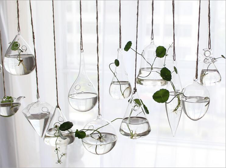 Crstal Glass Hanging Flowers Vases Terrarium Lots Shape Wedding Home Decor Christmas Gifts - Super Beauty Accessary store