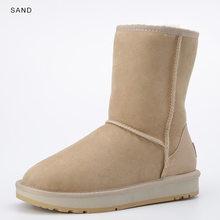 INOE Basic Mid-kalf Schapenvacht Leather Suede Winter Laarzen voor Vrouwen Schapen Wol Shearling Bont Gevoerde Snowboots Schoenen zwart Bruin(China)