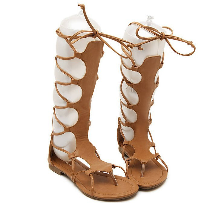 Hot New Pu Leather  Flat Sandals Women Gladiator Sandals Boots Zipper Knee High Summer Boots 2016 Cut Outs Strap Mujer