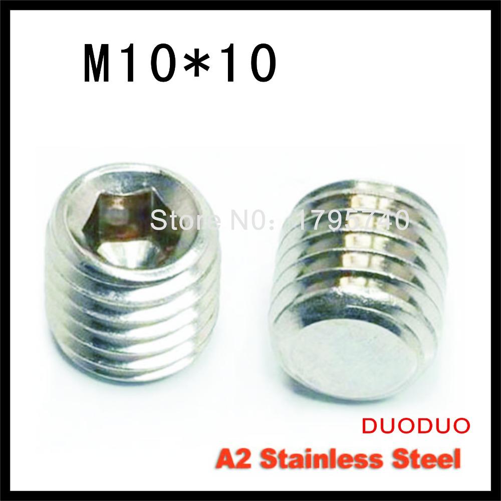 50pcs DIN913 M10 x 10 A2 Stainless Steel Screw Flat Point Hexagon Hex Socket Set Screws<br><br>Aliexpress