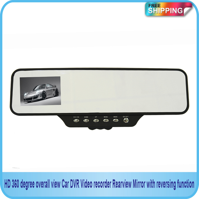 Free shipping!!HD 360 degree overall view Car DVR Video recorder Rearview Mirror with reversing function