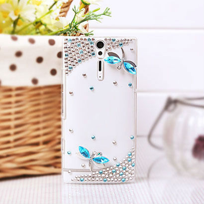 Free Shipping For Xperia S LT26i Bling 3D Dragonfly Diamond Crystal Case Cover