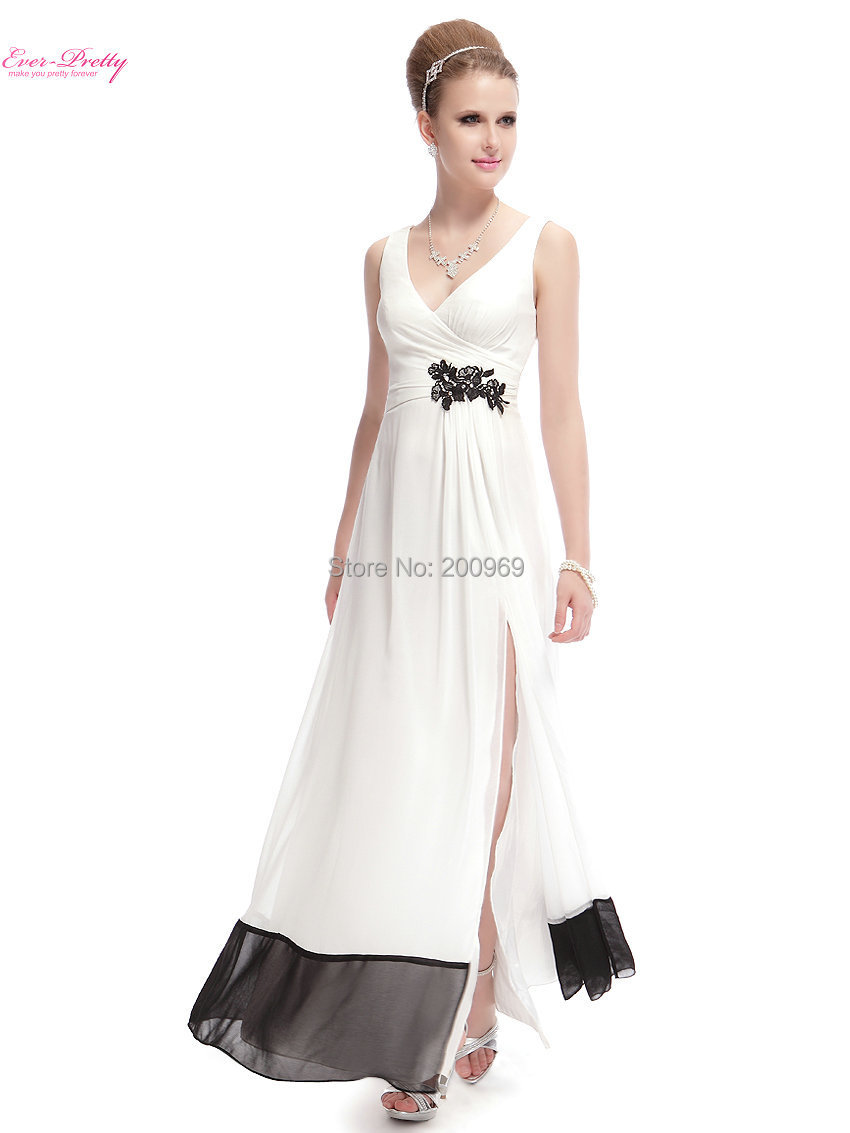 High Quality Women's Double V-neck White Slitted Long Party Summer Dresses 2015 Vestido HE08033WH Free Shipping(China (Mainland))