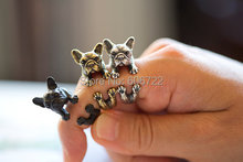 Retial Animal French Bulldog Ring Men And Women Animal Wrap Ring French Bulldog Ring Anel