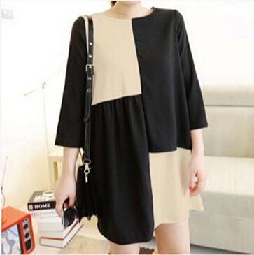 4XL Plus Size Women Vestidos Dresses Large Big Size Patchwork Lady Dress Clothes Full Figure Female Clothing Max Women Cloth(China (Mainland))