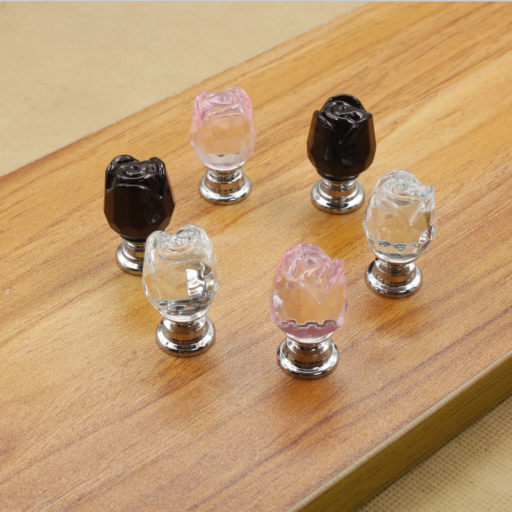 10 pcs/lot 20mm transparent pink black rose crystal single door knob/handle/pull for cabinet drawer furniture accessory #315(China (Mainland))