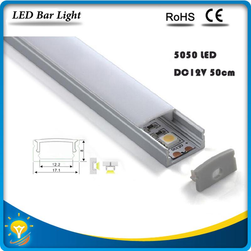 5pcs*50cm Factory Wholesale  DC 12V 36 SMD 5050 LED Hard Rigid LED Strip Bar Light with U  Aluminium led housing  and pc cover<br><br>Aliexpress
