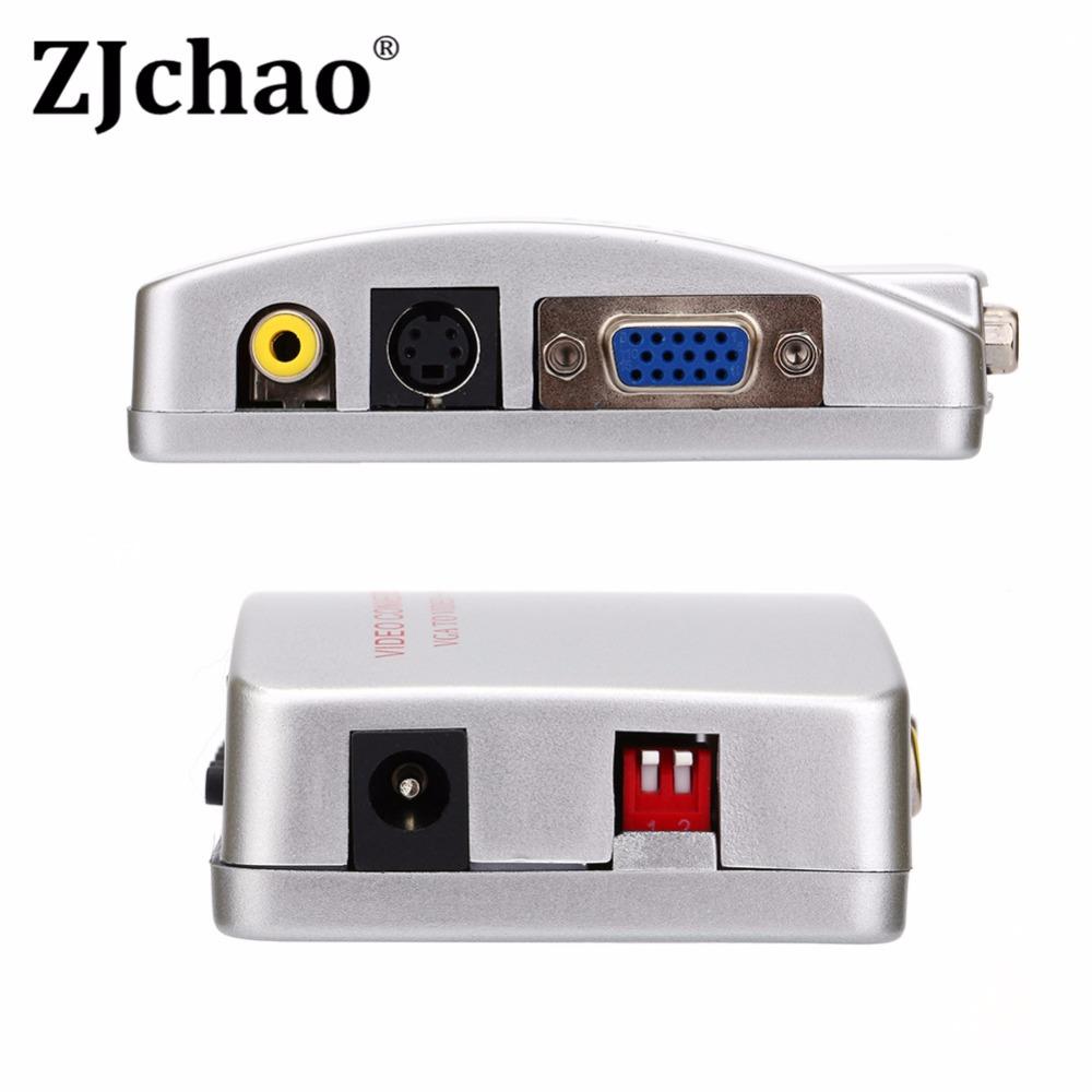 New Computer Laptop PC VGA to TV AV RCA S-Video Converter Adapter Box Composite(China (Mainland))