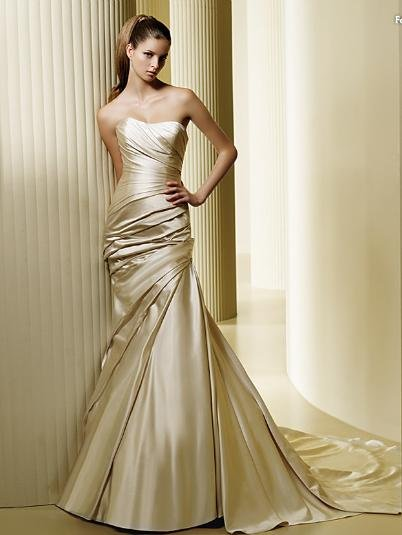 Gold satin mermaid wedding dress prom gown size for Champagne gold wedding dress